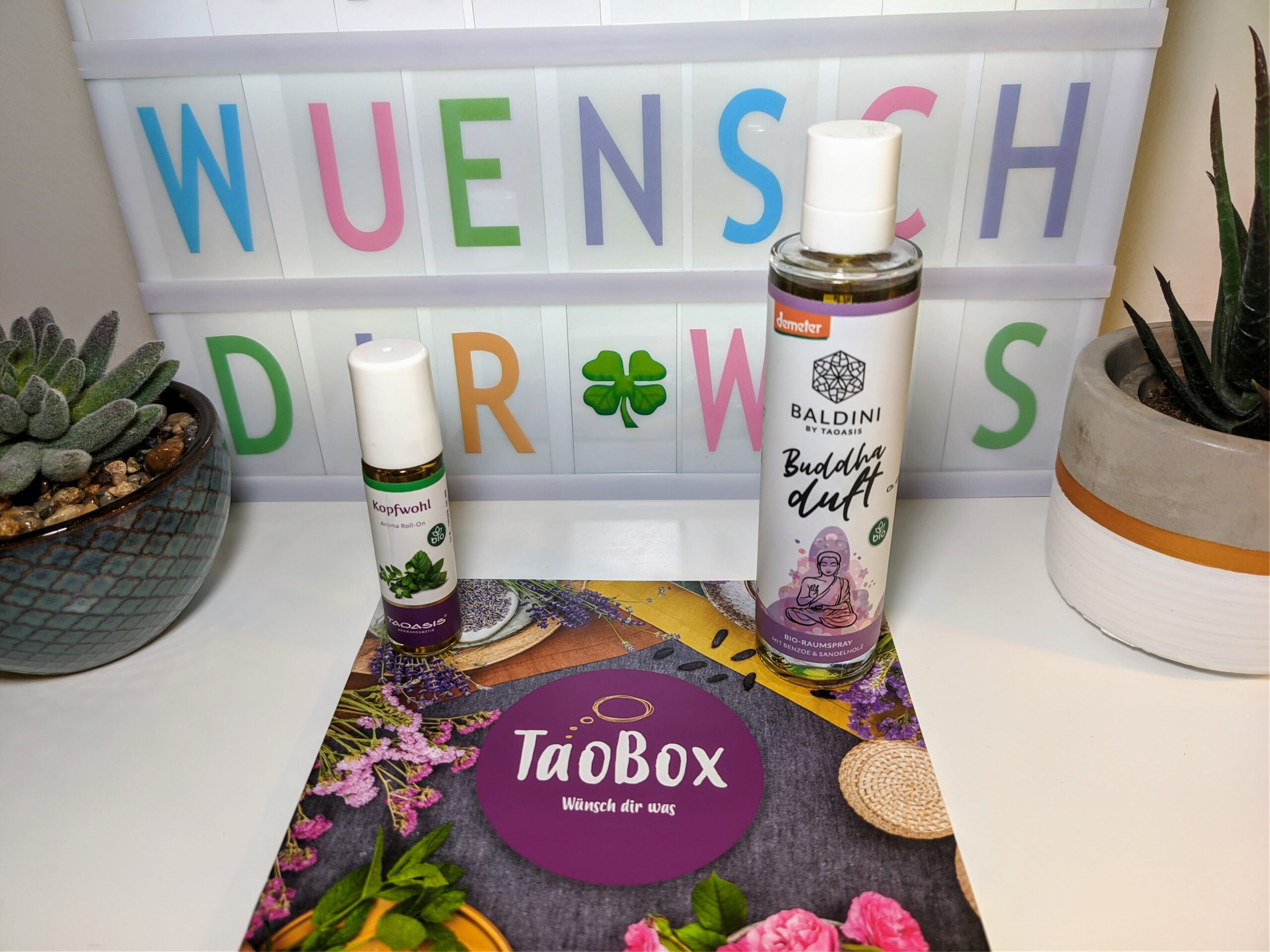 TaoBox – Wünsch dir was – Raumspray Buddhaduft und Kopfwohl Roll-On